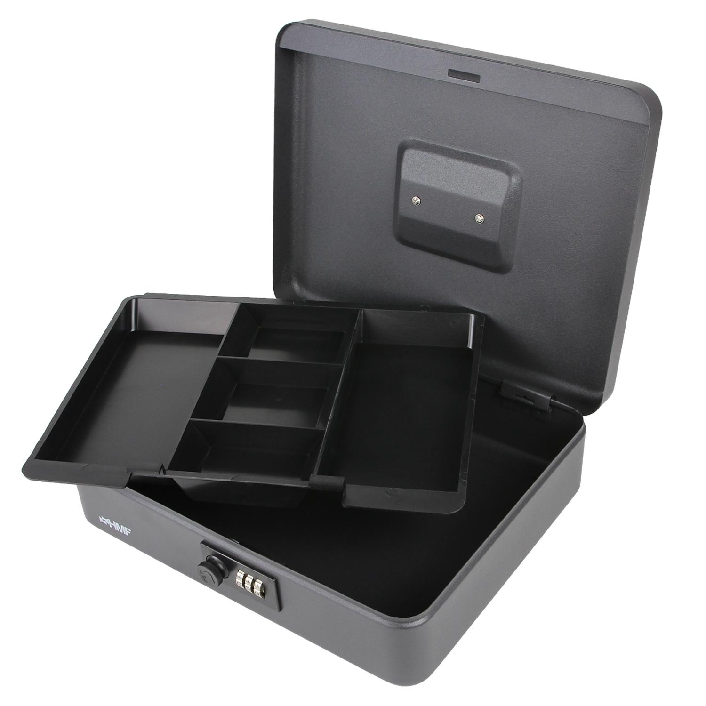 HMF Geldkassette 300 mm Geldkasse, Zahlenkombinationsschloss DIN A4, Geldbox