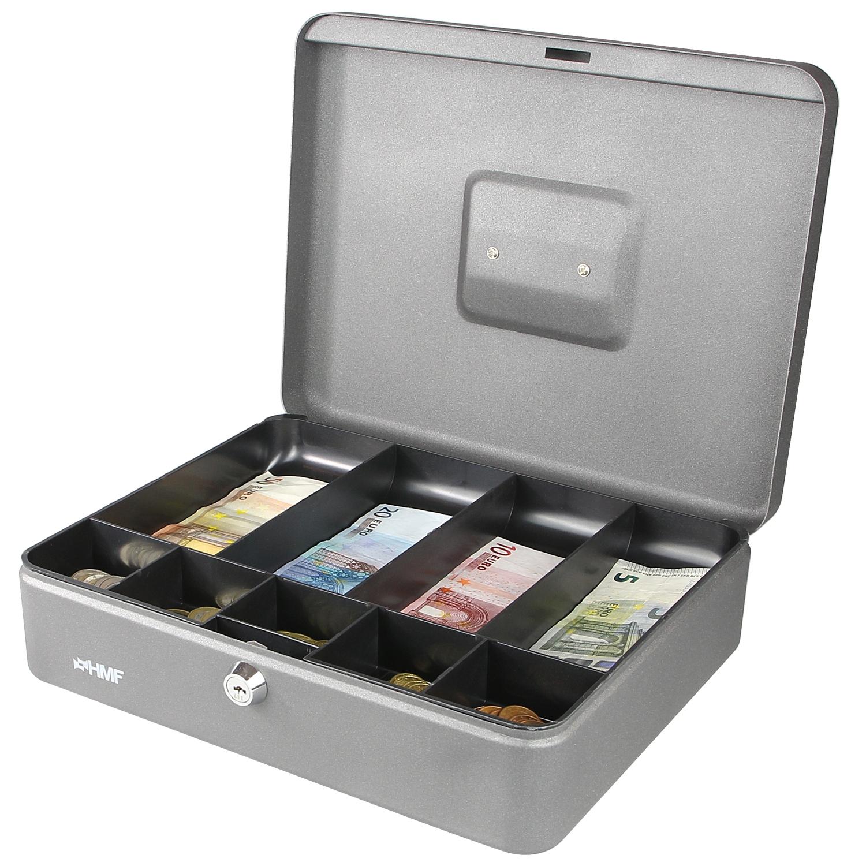 hmf geldkassette 300 mm geldeinsatz f r schein m nzf cher geldkasse silber 4010537001995 ebay. Black Bedroom Furniture Sets. Home Design Ideas