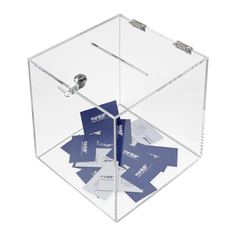 HMF Spardose Zylinder Acryl abschließbar 47730 Sparbox Spendenbox Sparbüchse