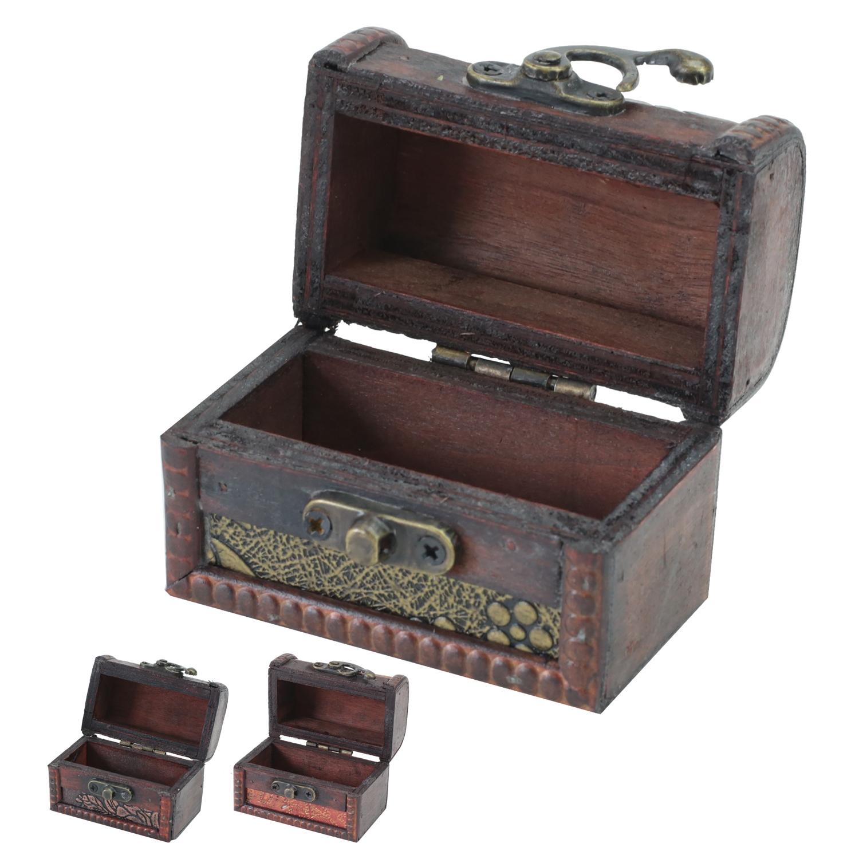 HMF Schatztruhe 3er Set Schatzkiste Holzkiste Ringbox Geschenkidee