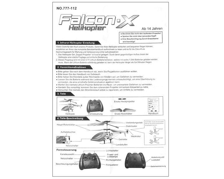 Falcon X 777112 Bedienungsanleitung